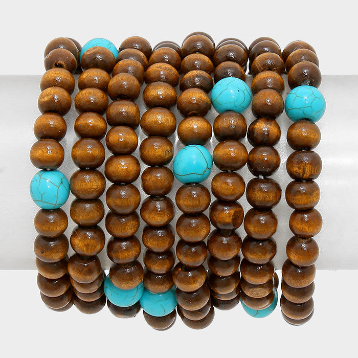 8 piece wood stretch bracelet bangle cuff 8 strand stack