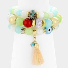 3 piece tassel wing charm bead stretch bracelet cuff bangle