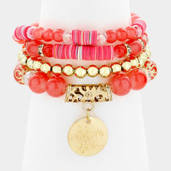 4 piece love coin charm bead stretch bracelet cuff bangle