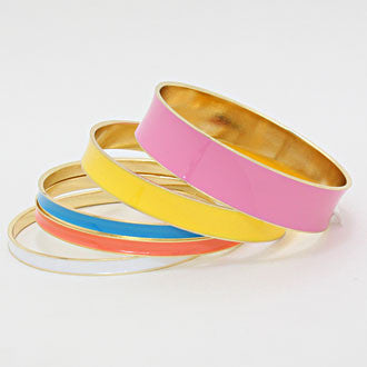 "9"" enamel multi colored bangles cuff bracelets 1.75"" stack 5 layer"