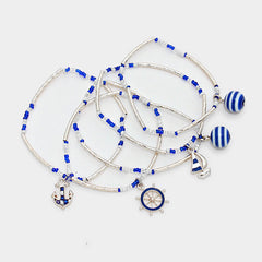 5 layer nautical anchor charm stretch bracelet bangle