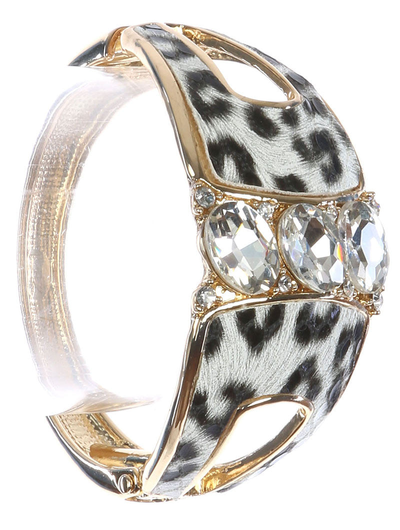 "8"" gold crystal leopard hinged bangles cuff bracelet stack"