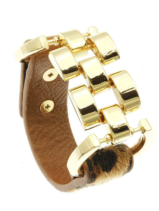 leopard print faux leather bangle cuff bracelet stack