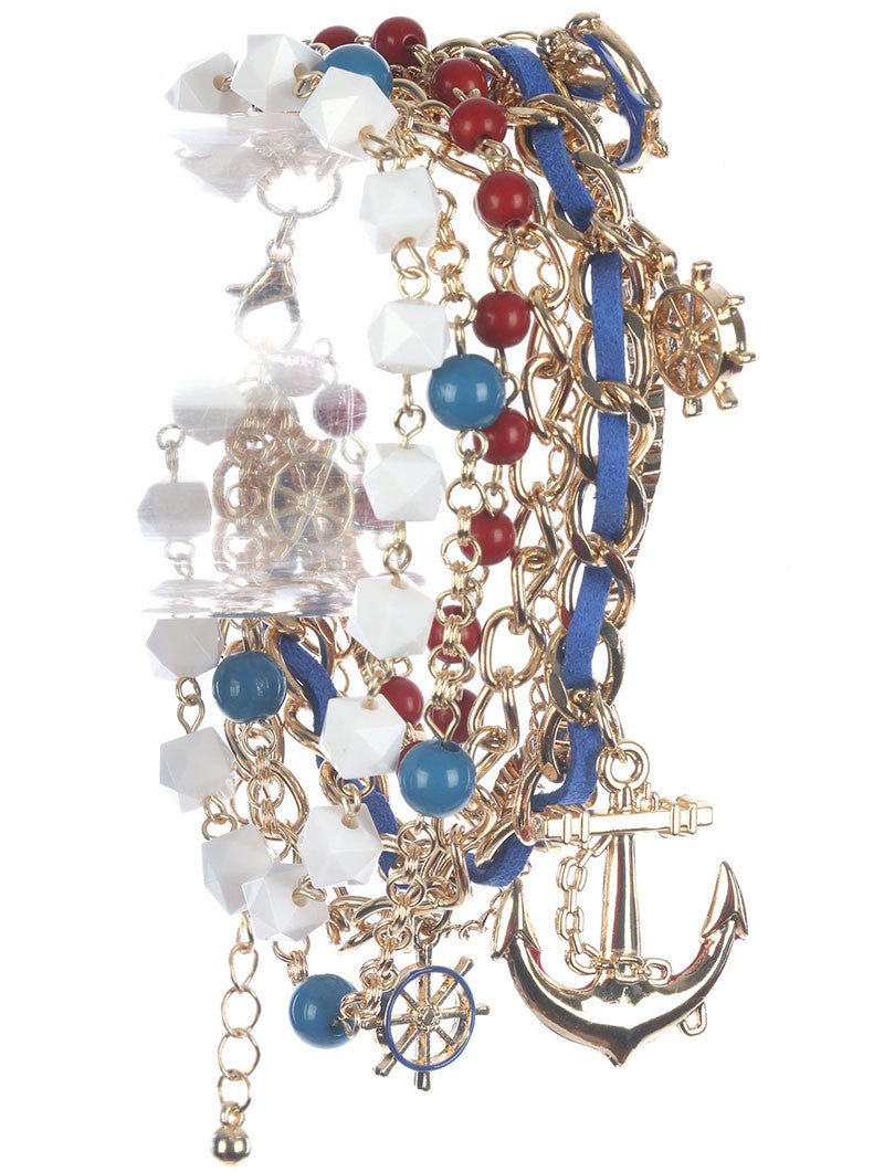 "7"" gold natuical anchor sea life charm bangle cuff stack bracelet"