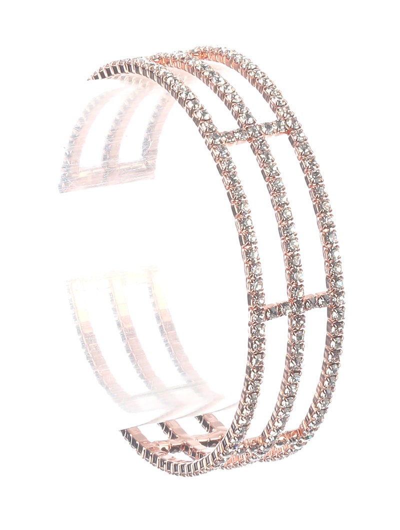 "7"" rose gold crystal open cuff bracelet .75"" wide prom bridal"