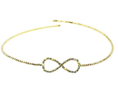 "10"" gold ab crystal infinity tennis coil choker collar necklace"