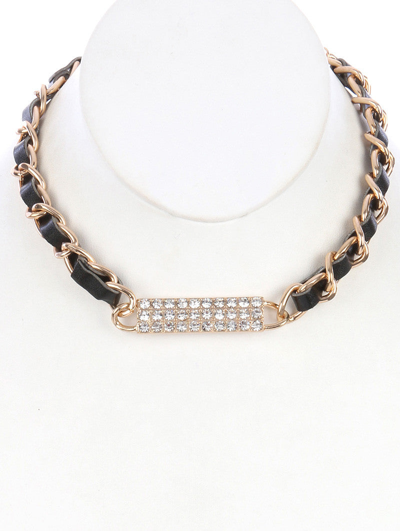 "12"" gold black crystal pave pendant faux leather bib collar choker necklace"