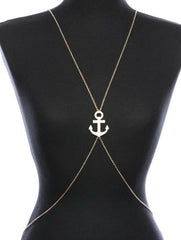 "36"" waist gold crystal pave anchor necklace swimsuit bra jewelry body chain"
