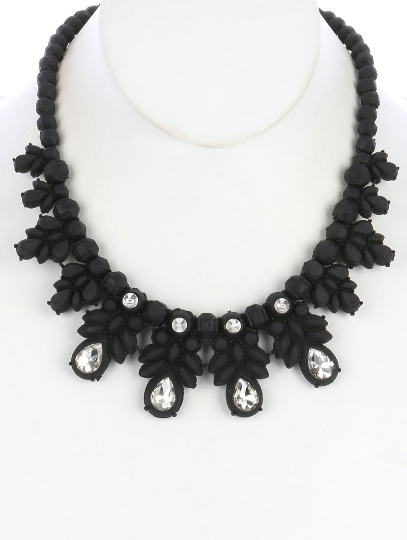 "16"" black crystal rubber choker collar necklace"