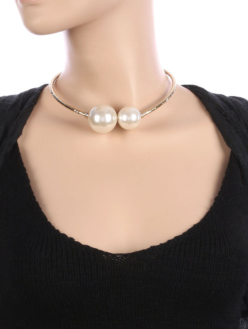"16"" gold  1"" .25"" 1""  faux pearl collar choker necklace bridal prom"