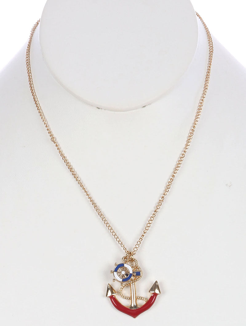 "18"" gold 1.25"" pendant charm anchor nautical sea life necklace"