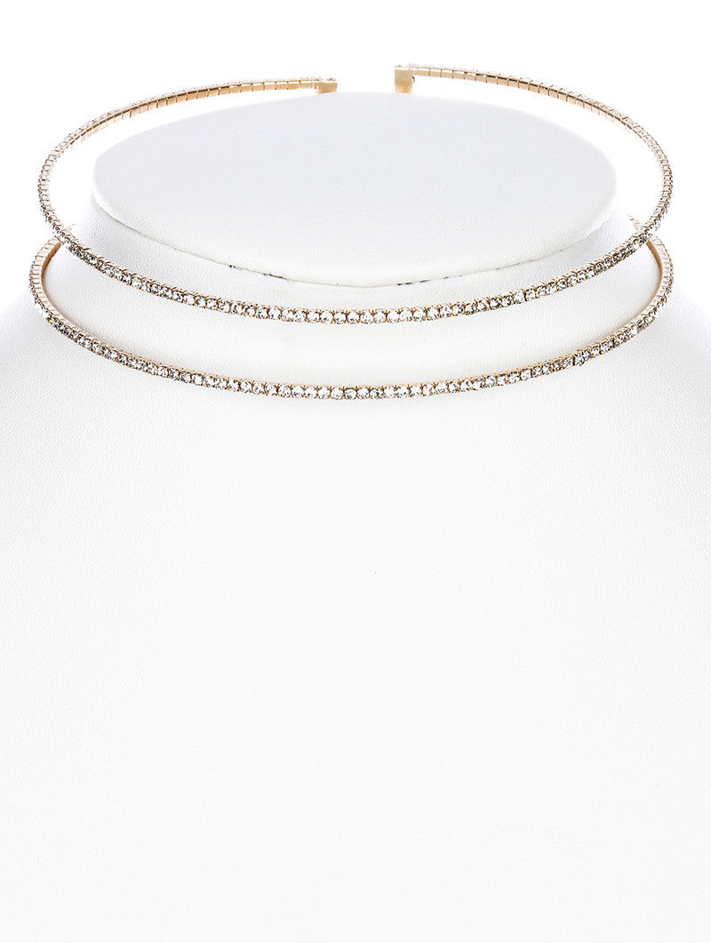 "4"" clear crystal coil choker collar bridal prom"