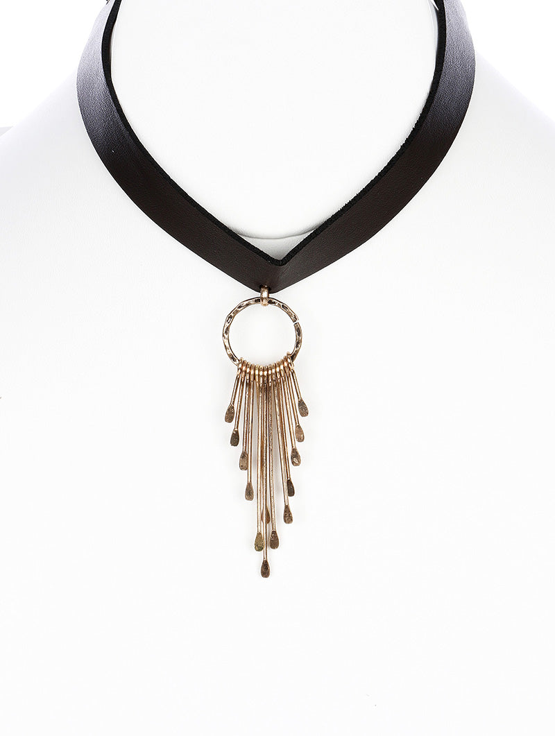 "10"" faux leather 3.10"" needle fringe tassel boho choker necklace"