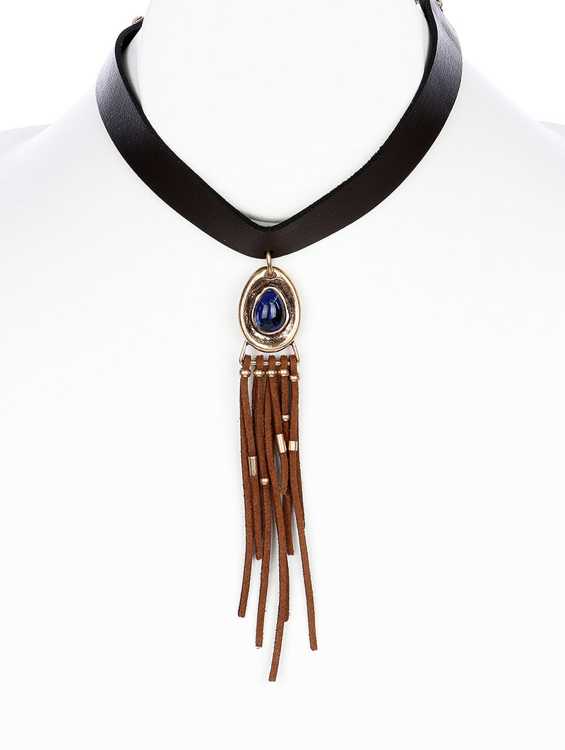 "10"" brown faux leather 5.50"" fringe tassel boho choker necklace"