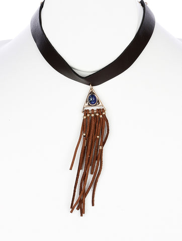 "10"" brown faux leather 5"" fringe tassel boho choker necklace"
