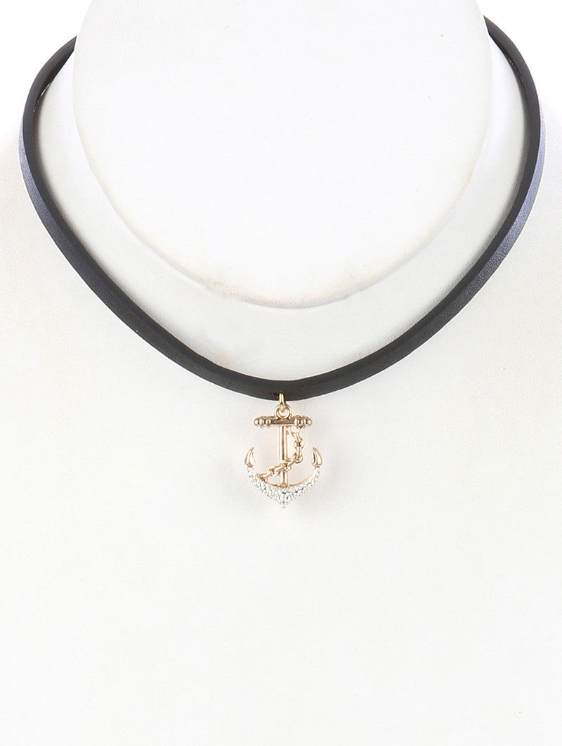 "12"" faux leather anchor sea life nautical pendant choker necklace"
