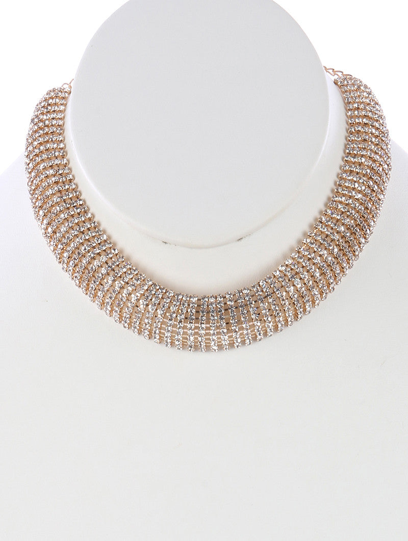"12"" clear crystal layered choker bib collar necklace .75"" wide prom bridal"
