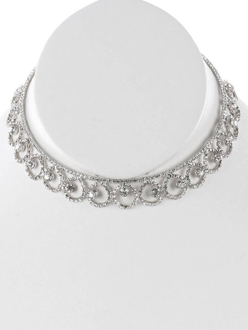 "12"" crystal collar choker necklace bridal prom pageant"