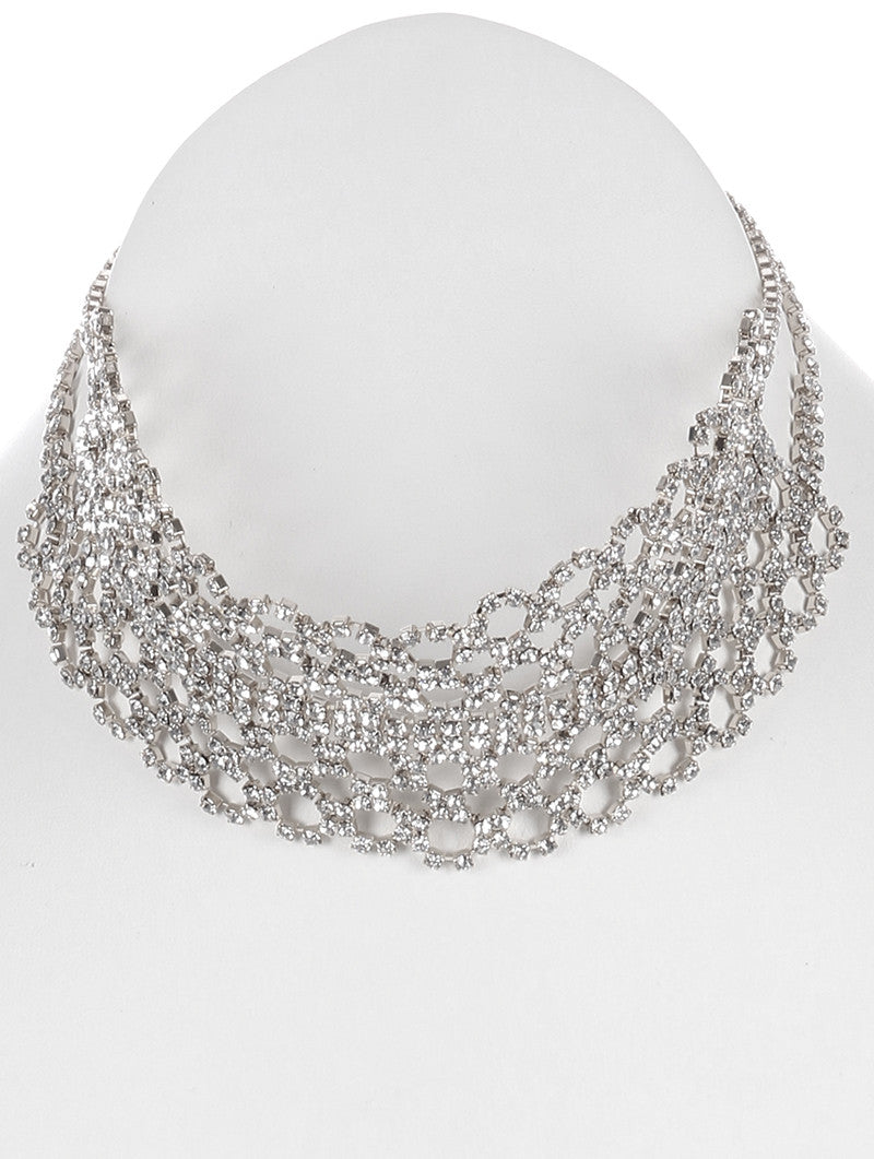 "12"" clear crystal choker collar necklace 2"" wide bridal prom pageant"