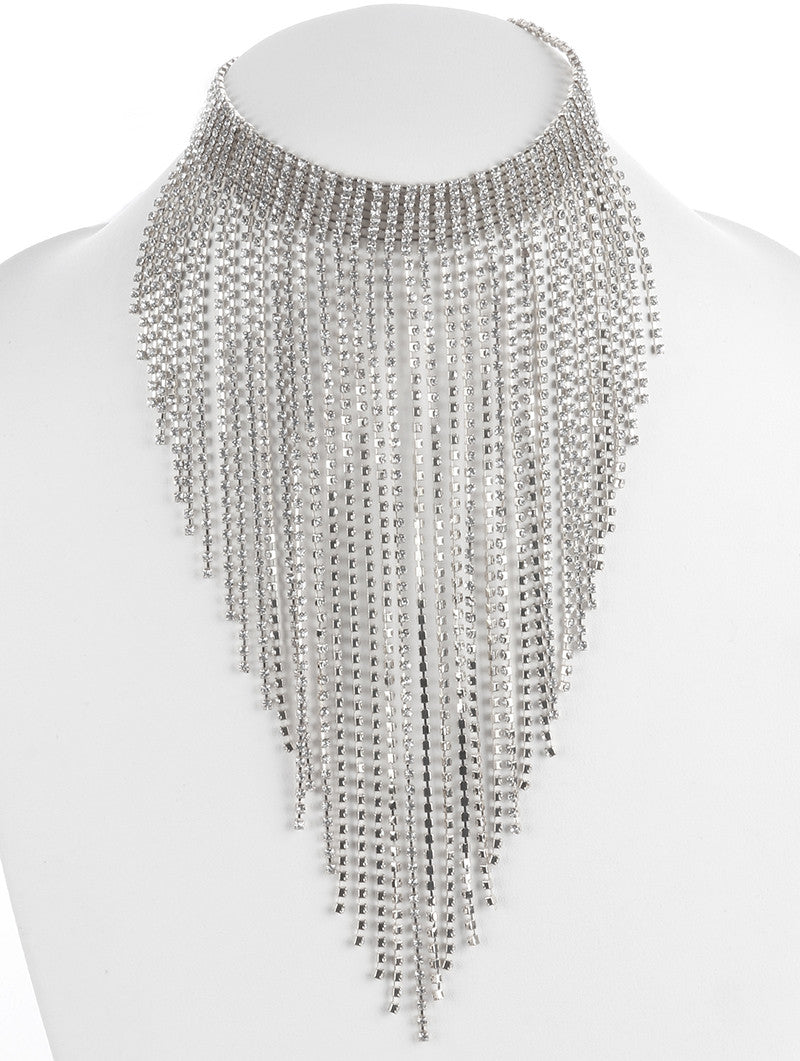 "14"" clear crystal tassel fringe collar choker necklace 11"" drop"