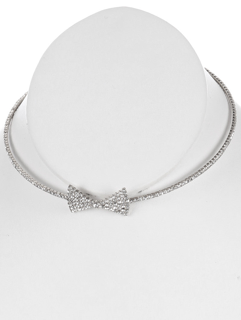 "10"" crystal 1.20"" bow collar choker necklace bridal prom"