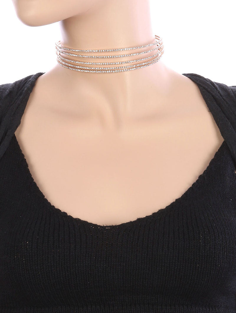 "13"" crystal 5 lines choker bib collar necklace prom bridal"