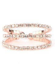 ".50"" wide crystal pave cocktail stretch coil multi layered ring"