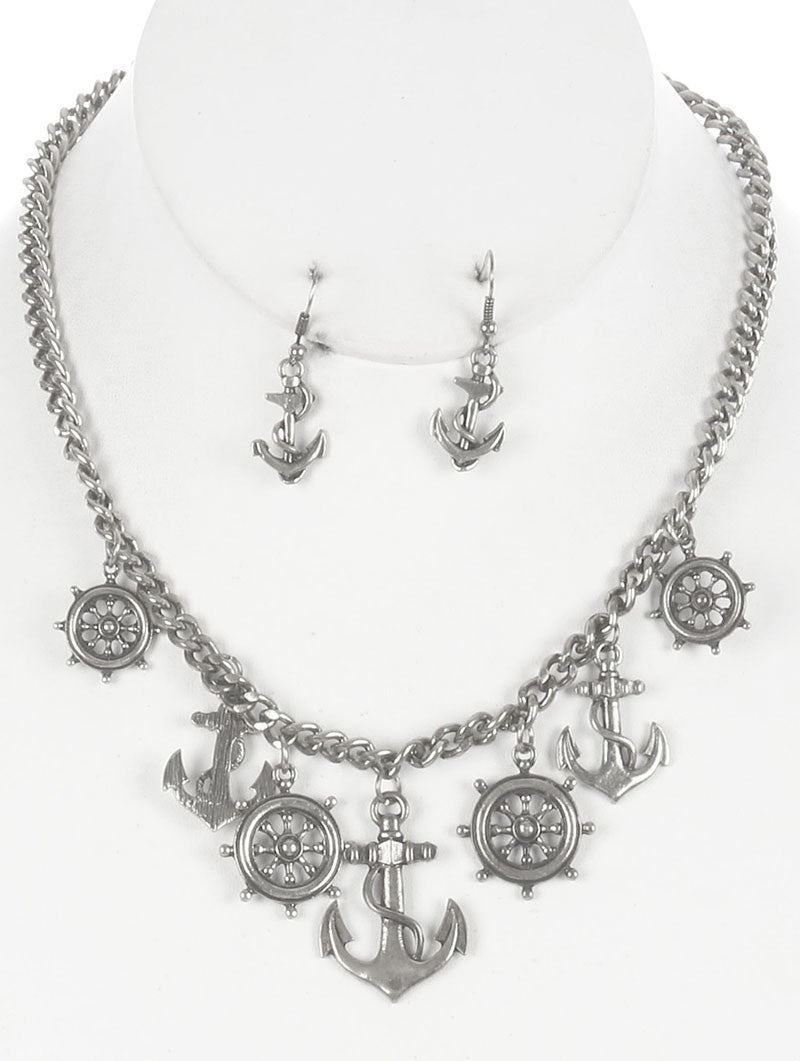 "16"" silver marine nautical anchor sea life charm necklace .80"" earrings"