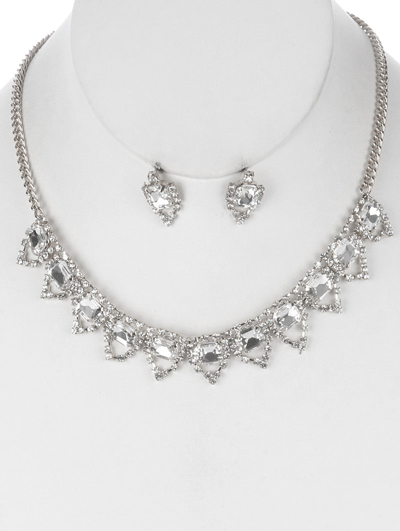 "12"" crystal collar choker bib necklace bridal prom .75"" earrings"