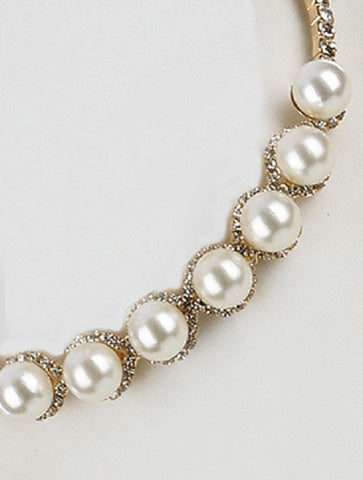 "10"" crystal white faux pearl choker collar necklace .50"" earrings bridal"