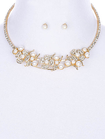 "10"" gold crystal white faux pearl choker floral collar necklace .25"" earrings bridal"