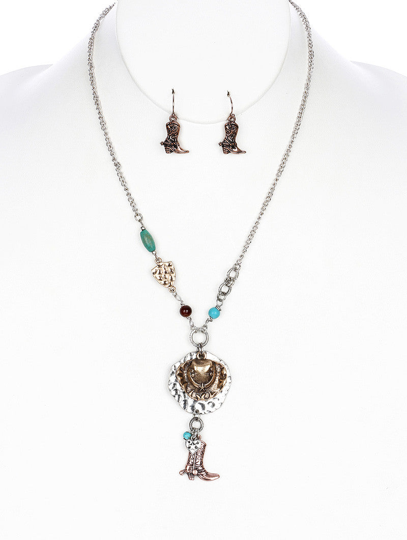"20"" silver western turquoise cowboy boot charm pendant Necklace .75"" earrings"
