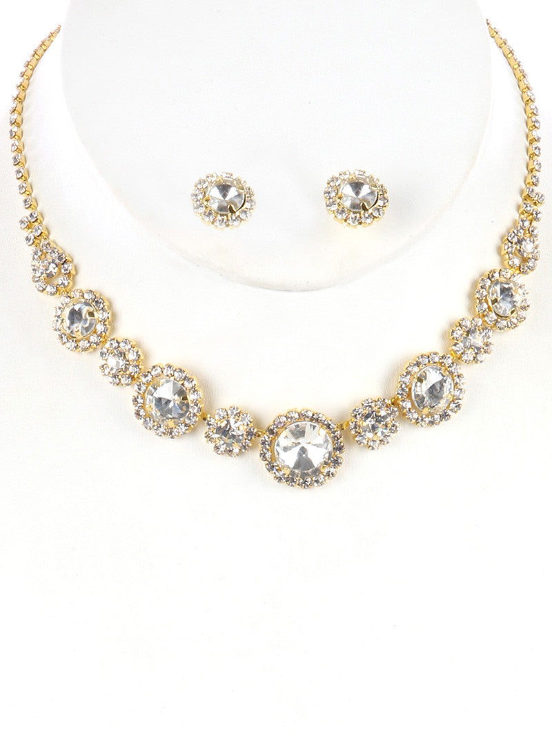 "12"" gold clear crystal collar choker bib necklace bridal prom earrings"