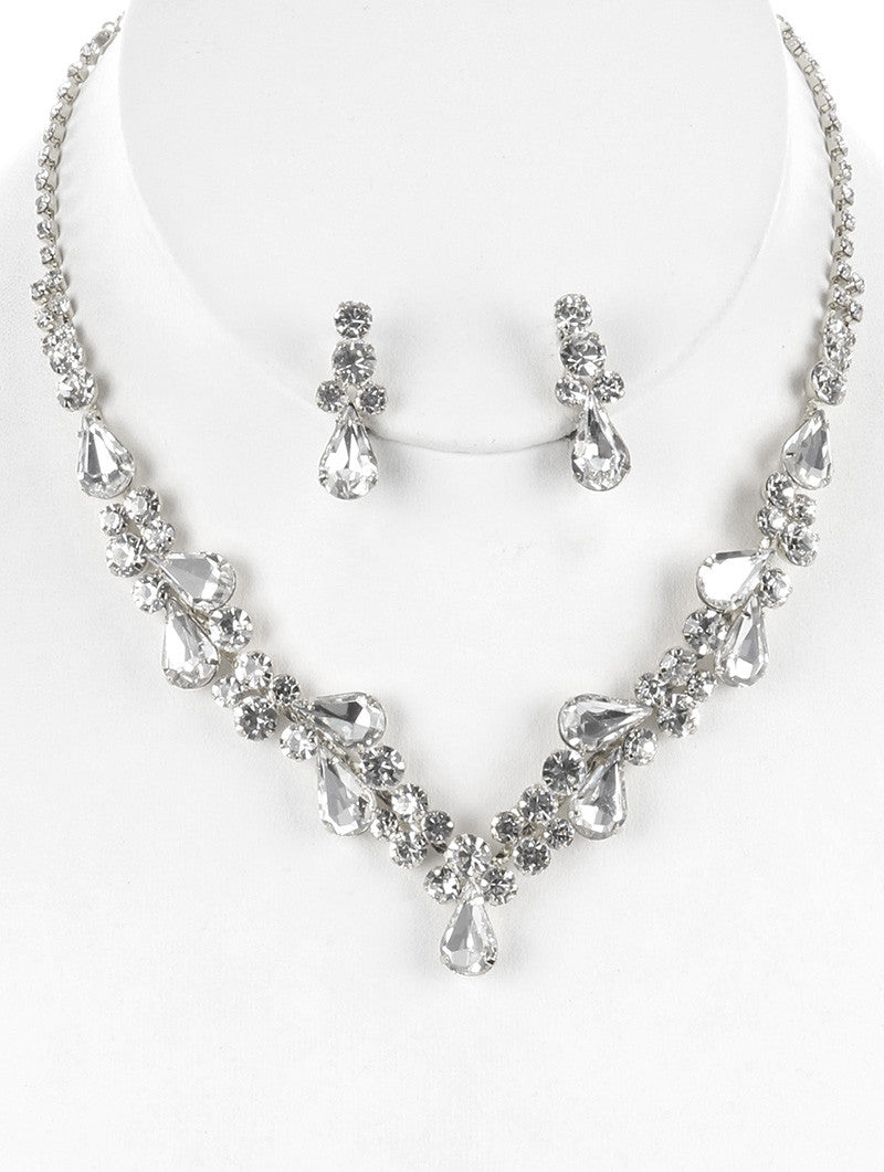 "12"" silver crystal choker necklace bridal prom 1"" earrings prom bridal"
