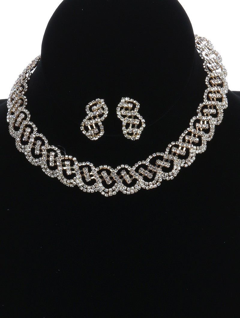 "12"" crystal collar choker necklace 1.25"" earrings bridal prom formal"