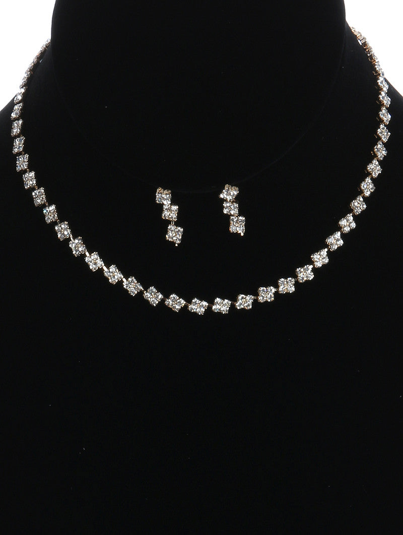 "14"" crystal choker bib collar necklace .75"" earrings bridal prom"
