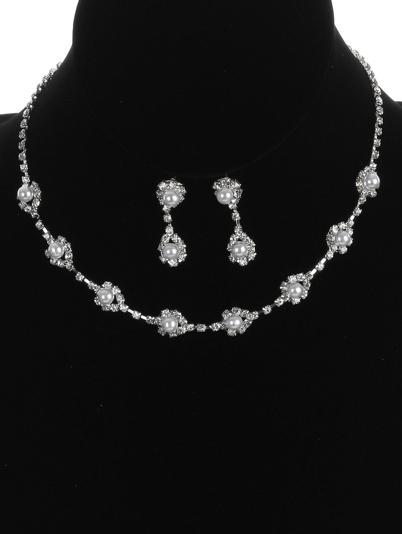 "14"" crystal faux pearl collar choker necklace 1.25"" earrings bridal prom"