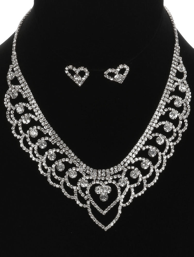 "16"" crystal bib choker collar necklace .75"" earrings prom bridal"