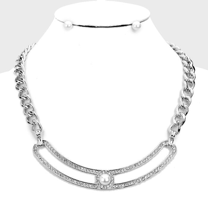 "16"" crystal faux pearl 5"" curved bar necklace .25"" earrings"