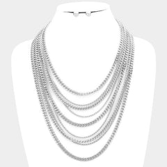 "17"" multi 9 layer chain collar choker necklace .30"" earrings"