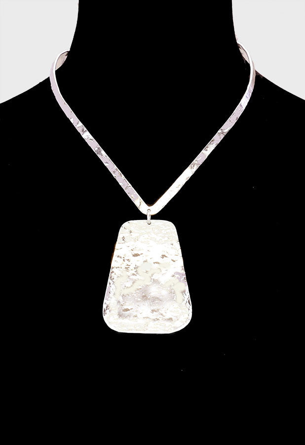 "6"" silver rectangle pendant collar choker necklace"