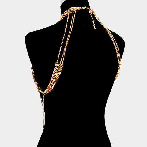 "15"" draped body chain collar choker bikini necklace bathing suit jewelry"