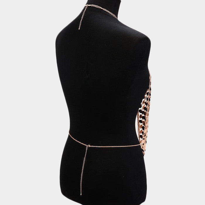 "20"" disc sequin vest body chain collar bib choker necklace fringe armor"