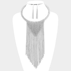 "16"" tassel fringe drop choker collar necklace bib 2.75"" earrings"