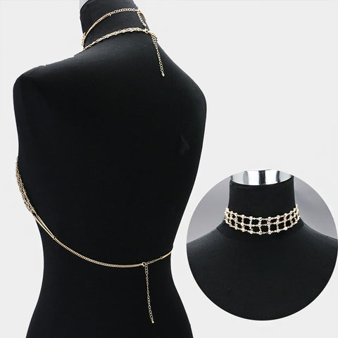 "12"" crystal mesh choker collar necklace bra body chain 2 piece bikin"