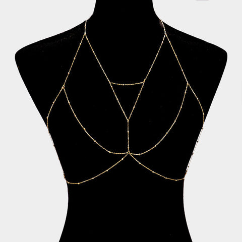 "20"" metal bead bra body chain bikini swimsuit bathing suit jewelry"