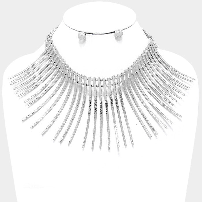 "12"" curved choker bib collar necklace earrings boho statement fringe bar"