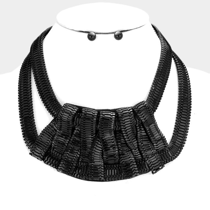 "16"" black snake chain choker collar bib necklace statement chunky .30"" earrings"