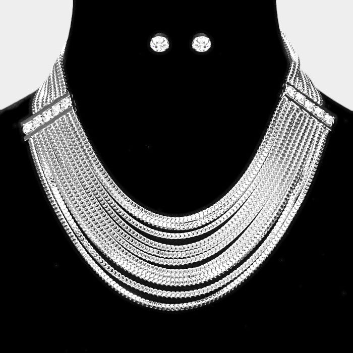 "14"" crystal layered multi row choker collar bib necklace .30"" earrings"