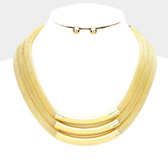 "16"" gold mesh tube layered necklace .30"" earrings 1.25"" wide"